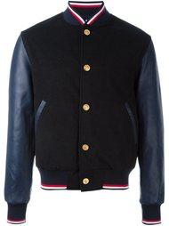 куртка-бомбер с кожаными рукавами Thom Browne