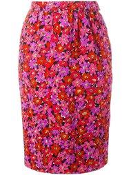 юбка-карандаш  с цветочным принтом Yves Saint Laurent Vintage