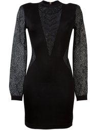 платье с кружевными вставками Balmain