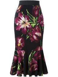 юбка с узором в виде тюльпанов Dolce & Gabbana