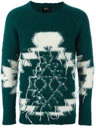 трикотажный свитер с геометрическим узором Nº21