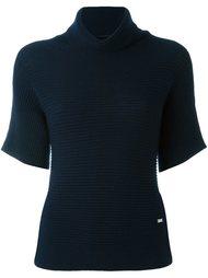 блузка в рубчик с высокой горловиной Fay