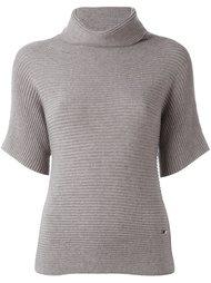 блузка в рубчик с высоким воротником Fay