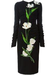 платье с аппликацией в виде тюльпанов Dolce & Gabbana
