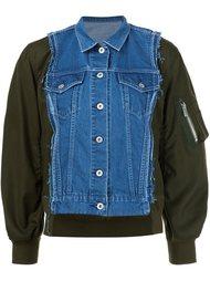 куртка-бомбер с джинсовой панелью Sacai