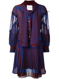платье с узором и оборками  Sacai