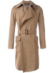 пальто с поясом и накладными карманами Nuur