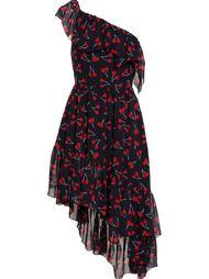 платье асимметричного кроя с принтом вишни Saint Laurent
