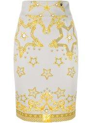 юбка-карандаш с принтом звезд Versace Collection