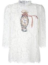 кружевная блузка с вышивкой бисером Dolce & Gabbana