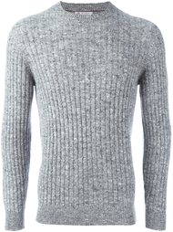 меланжевый свитер ребристой вязки Brunello Cucinelli