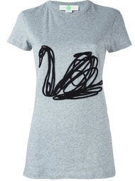футболка с вышивкой лебедя Stella McCartney