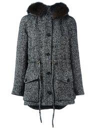 пальто с капюшоном и меховой отделкой Blumarine