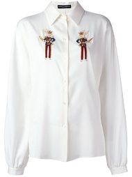 рубашка с вышитыми зайцами Dolce & Gabbana