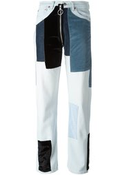 лоскутные джинсы с бархатными вставками Off-White