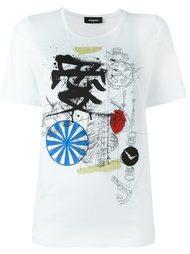 футболка с принтом механизма Dsquared2