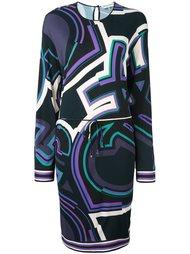 платье с абстрактным узором и длинными рукавами Emilio Pucci