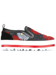 кроссовки-слипон с цветочным узором на платформе MSGM