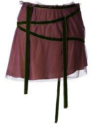 кружевная юбка с контрастной отделкой Romeo Gigli Vintage