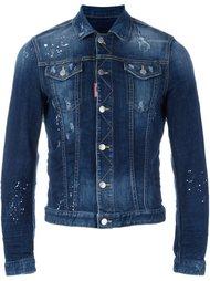 джинсовая куртка с брызгами краски Dsquared2