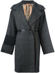 пальто средней длины с контрастной панелью Nº21