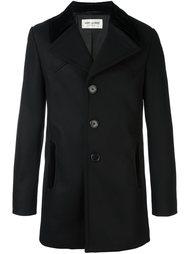 пальто с бархатными вставками  Saint Laurent