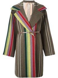 пальто средней длины с полосатым узором Nº21