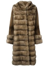 меховое пальто с капюшоном Liska