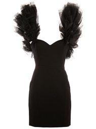 платье мини с многослойной отделкой на плечах Saint Laurent