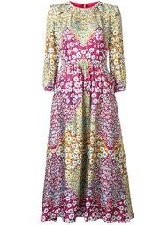 платье миди с цветочным принтом  Monique Lhuillier