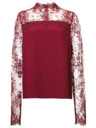 блузка с кружевными рукавами Monique Lhuillier