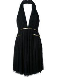 платье с вырезом-халтер и золотистой отделкой  Jay Ahr
