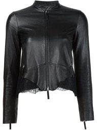 кожаная куртка с кружевными вставками Roberto Cavalli