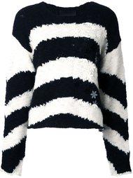 полосатый пуловер с цветочной аппликацией Jay Ahr