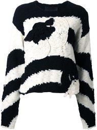 полосатый пуловер с заплаткой в форме цветка Jay Ahr