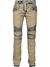"байкерские джинсы с узором ""тай-дай"" Balmain"