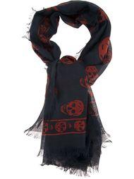 шелковый шарф в принт с черепами Alexander McQueen