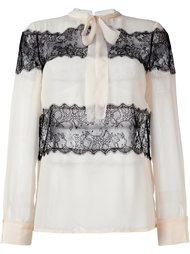 блузка с кружевными панелями и бантом Philosophy Di Lorenzo Serafini