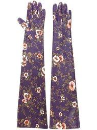 удлиненные перчатки с цветочным принтом Rochas