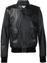 кожаная куртка на молнии Saint Laurent