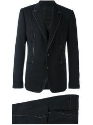 костюм-тройка с контрастной строчкой Dolce & Gabbana