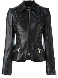 приталенная кожаная куртка Plein Sud