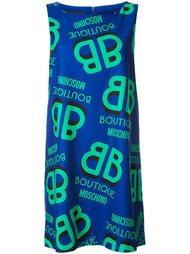 платье шифт с принтом логотипа  Boutique Moschino