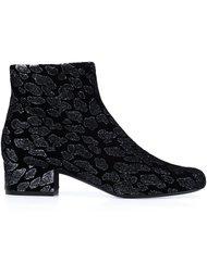 ботинки с леопардовым принтом  Saint Laurent