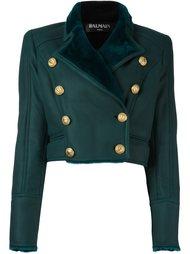 укороченная двубортная куртка Balmain