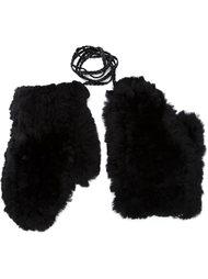 перчатки из меха кролика Yves Salomon