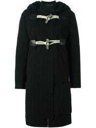 однобортное пальто с кожаными деталями Calvin Klein Collection