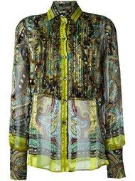 полупрозрачная рубашка с плиссированным нагрудником Etro