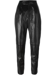 зауженные кожаные брюки  Saint Laurent