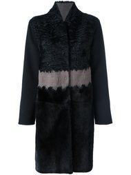 меховое пальто в полоску Manzoni 24